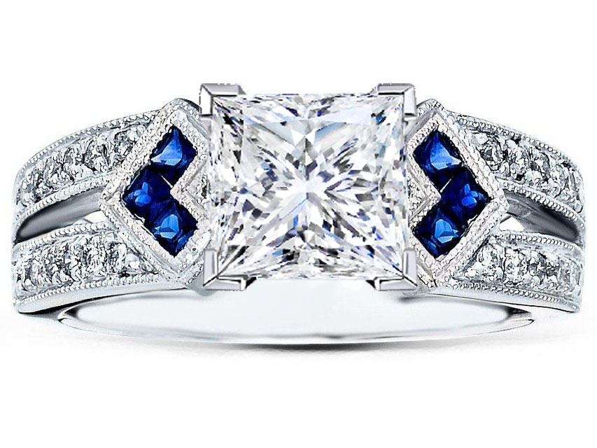 Princess Diamond Engagement Ring Trio Blue Sapphire double Diamond band in 14K White Gold