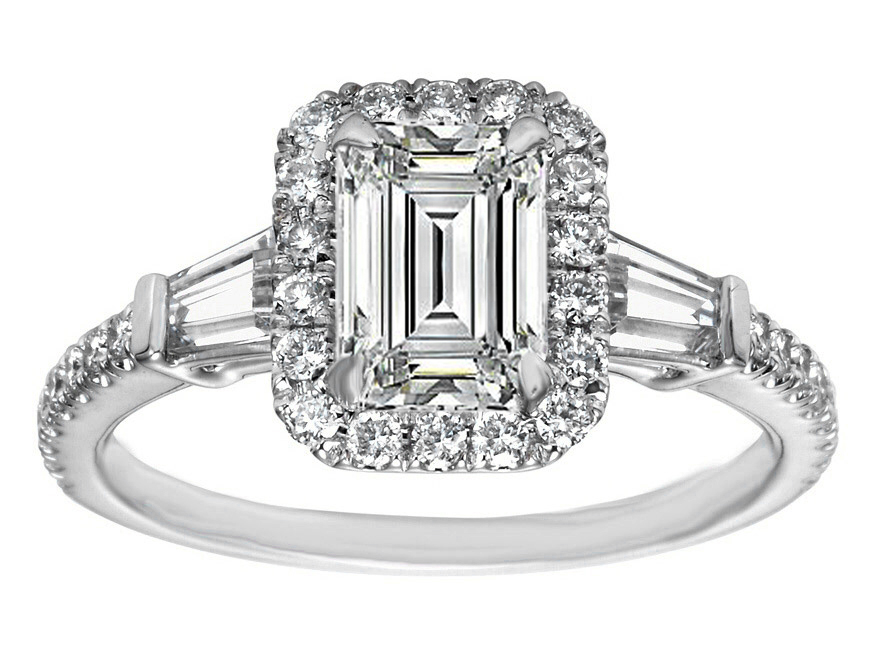 Engagement Ring Emerald Cut Diamond Halo Engagement Ring Baguette Side Stone