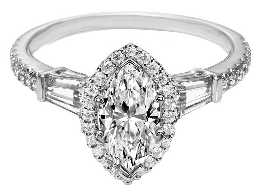Marquise Diamond Halo Engagement Ring Baguette Side Stones in 14K White  Gold ...