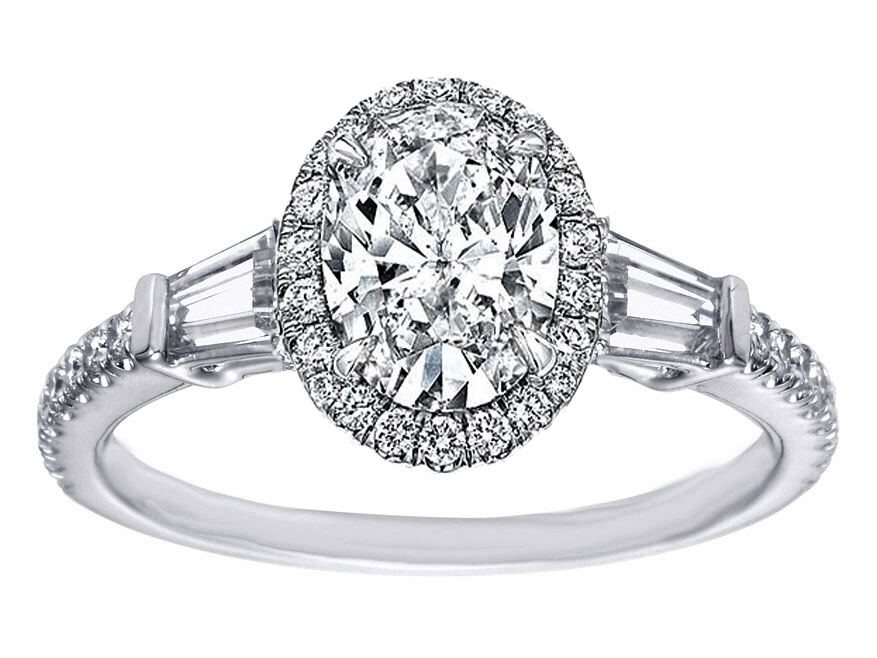 Oval Diamond Halo Engagement Ring Baguette Side Stones in 14K White Gold