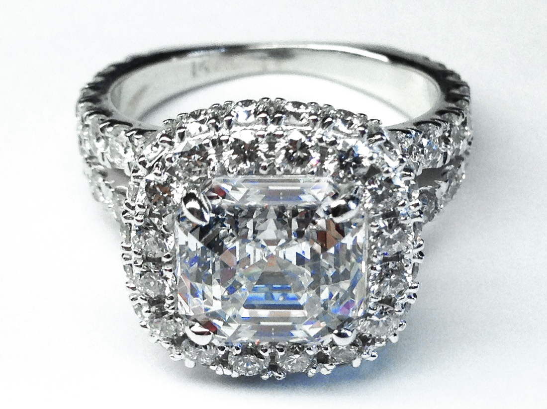 Diamond Initials Engagement Ring in 14K White Gold