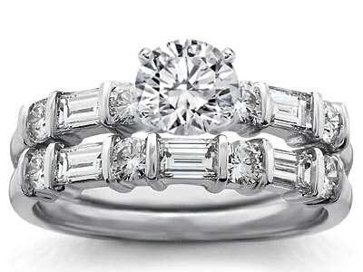 Round Baguette Diamond Engagement Ring Wedding Band Bridal Set In 14k White Gold
