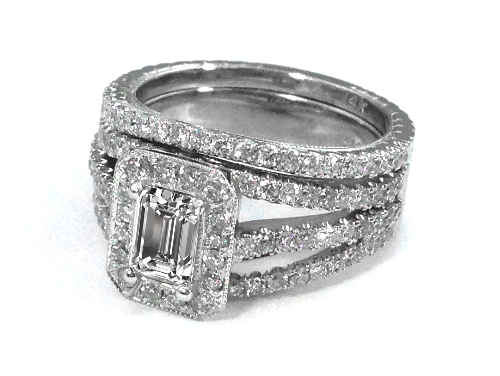 Trio Band Emerald Cut Diamond Engagement Ring & Matching Wedding Band in 14K White Gold