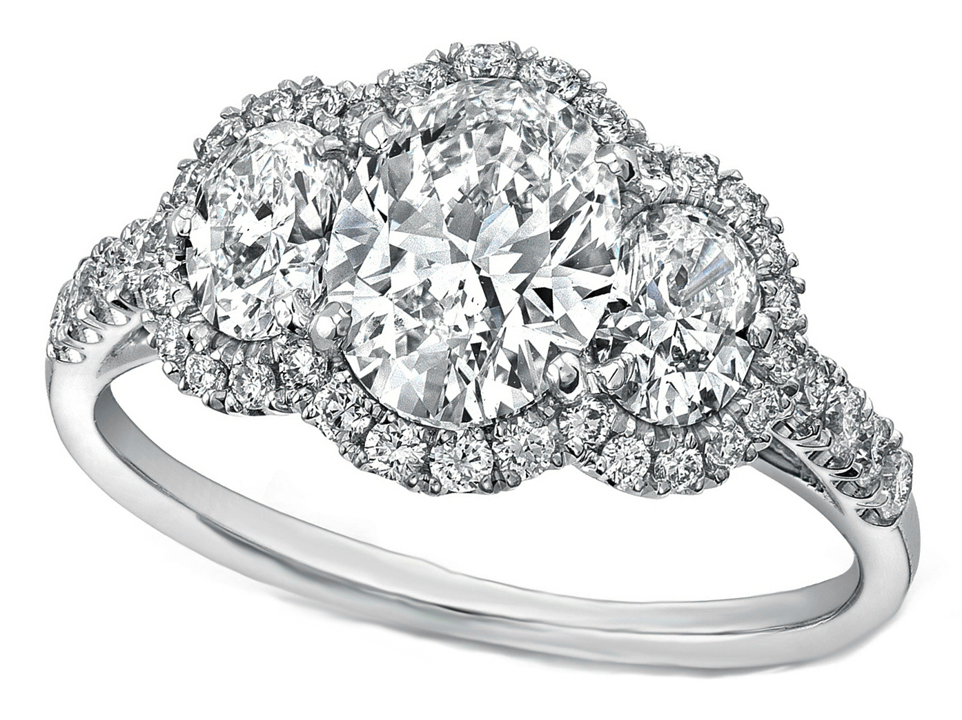 Three Stone Oval Diamond Halo Engagement Ring 1.10 TCW in 14K White Gold