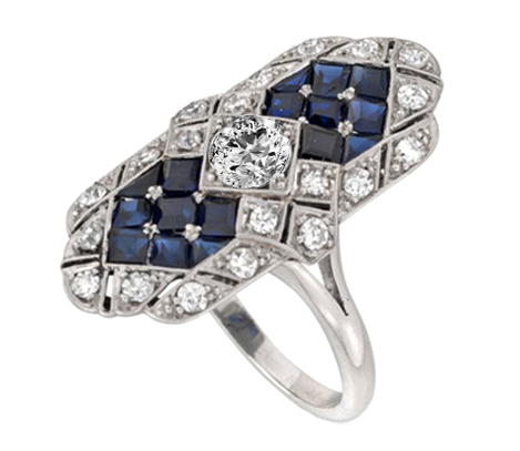 Diamond and Blue Sapphire Edwardian Buckler Engagement Ring
