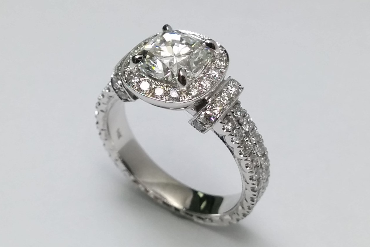 Cushion Cut Diamond Halo  Engagement Ring Double Pave Band in 14K White Gold