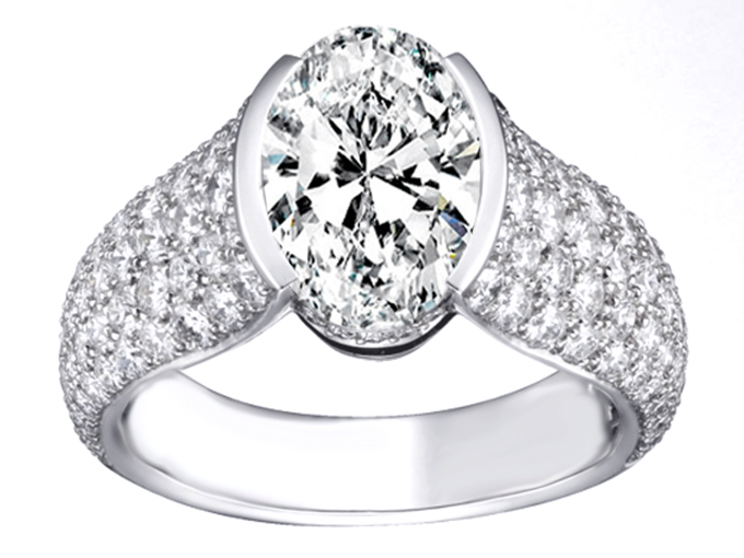 Oval Diamond Engagement Ring Five Row Etoil Style Diamond Band, 1.05 tcw in 14K White Gold