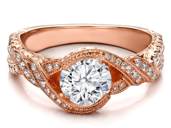 Braided Diamond Engagement Ring Hand Engraved in 14K Pink Gold