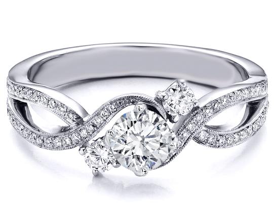 Three Stone Infinity Diamond Engagement Ring 0 68 Tcw In 14k White Gold