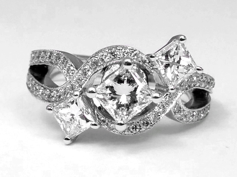Three Stone Infinity Diamond Engagement  Ring 0.98 TCW in 14K White Gold