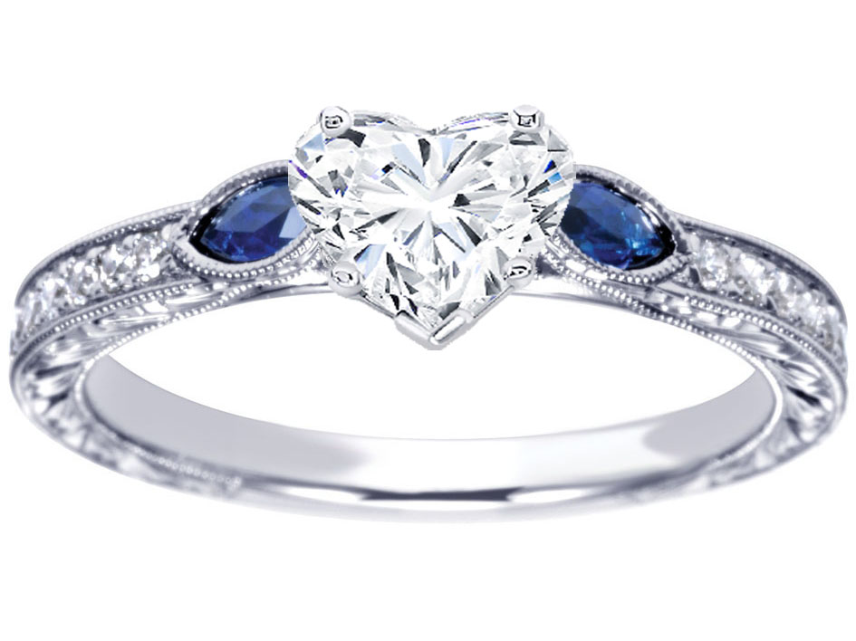 Heart Diamond Engagement Ring Blue Sapphire Marquise side stones Hand  Engraved White Gold band