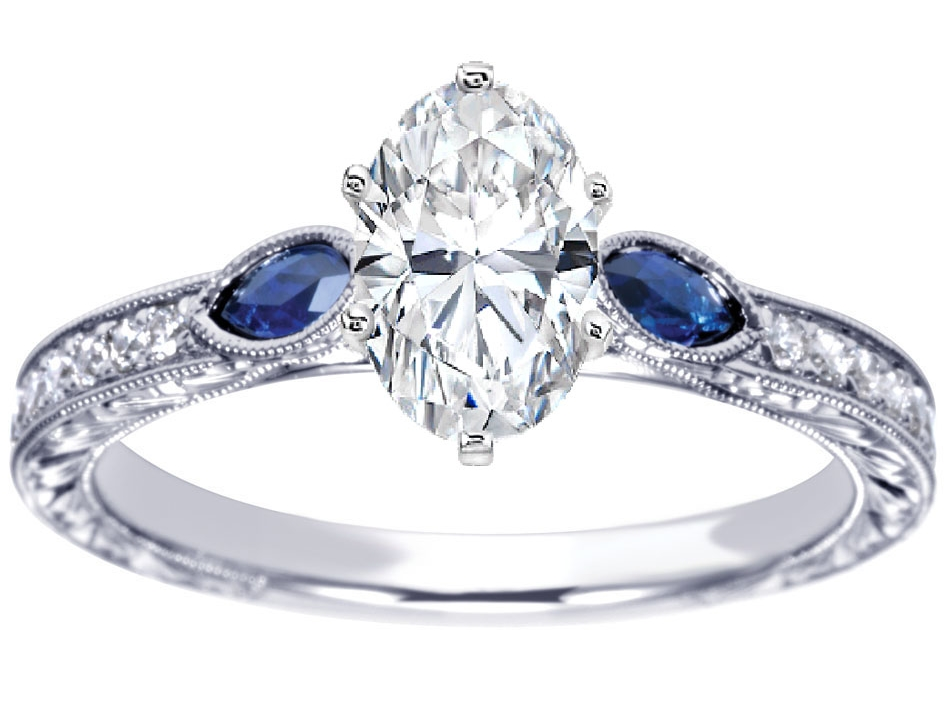 Oval Diamond Engagement Ring Blue Sapphire Marquise side stones Hand engraved White Gold band