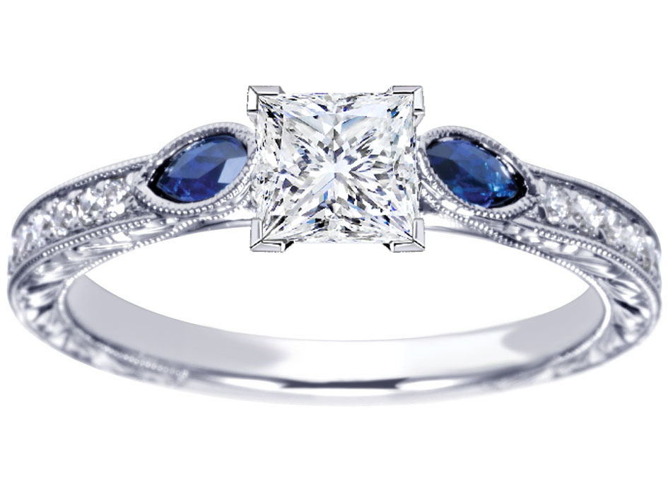 Princess Diamond Engagement Ring Blue Sapphire Marquise side stones Hand engraved White Gold band