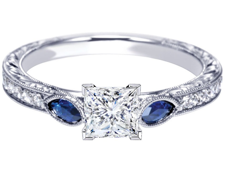 Engagement Ring Princess Diamond Engagement Ring Blue Sapphire Marquise side
