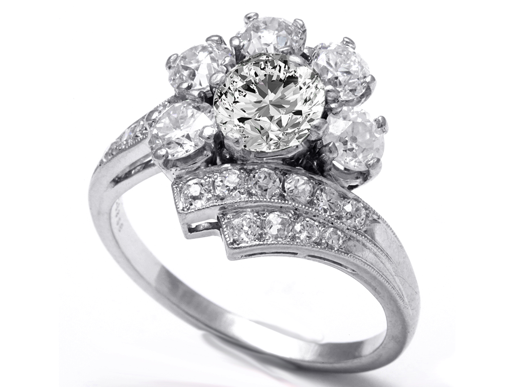 Floral Art Deco Diamond Engagement Ring 1.52 TCW in 14K White Gold