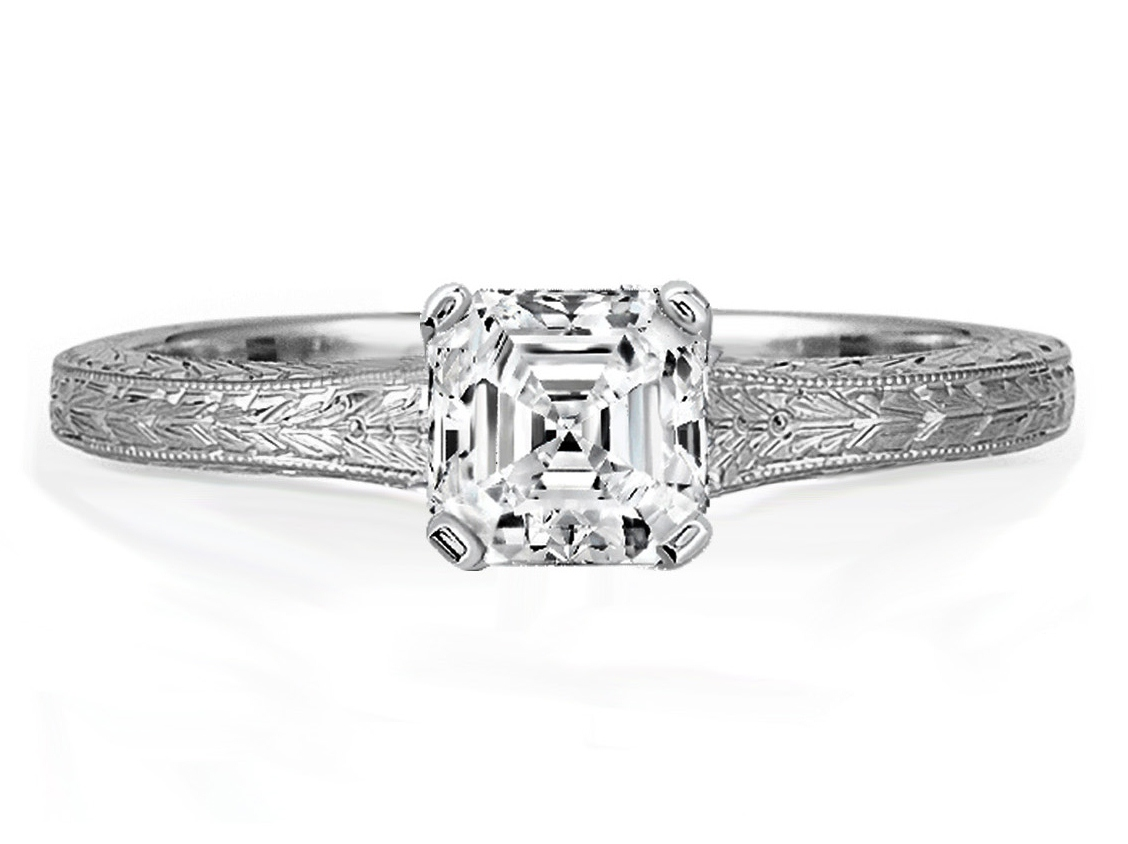 Asscher Diamond Solitaire Wheat Engraved  Engagement Ring in 14K White Gold