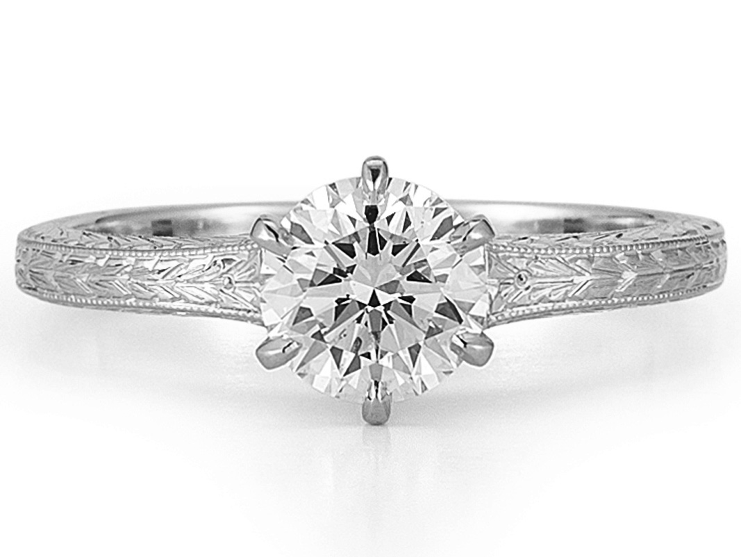 Wheat Hand Engraved Diamond Solitaire Engagement Ring In 14k White Gold