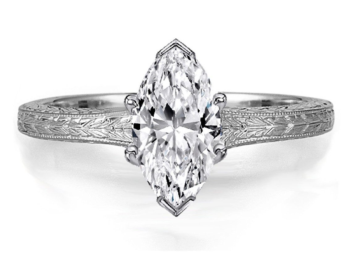 Marquise Diamond Solitaire Wheat Engraved Engagement Ring In 14k White Gold
