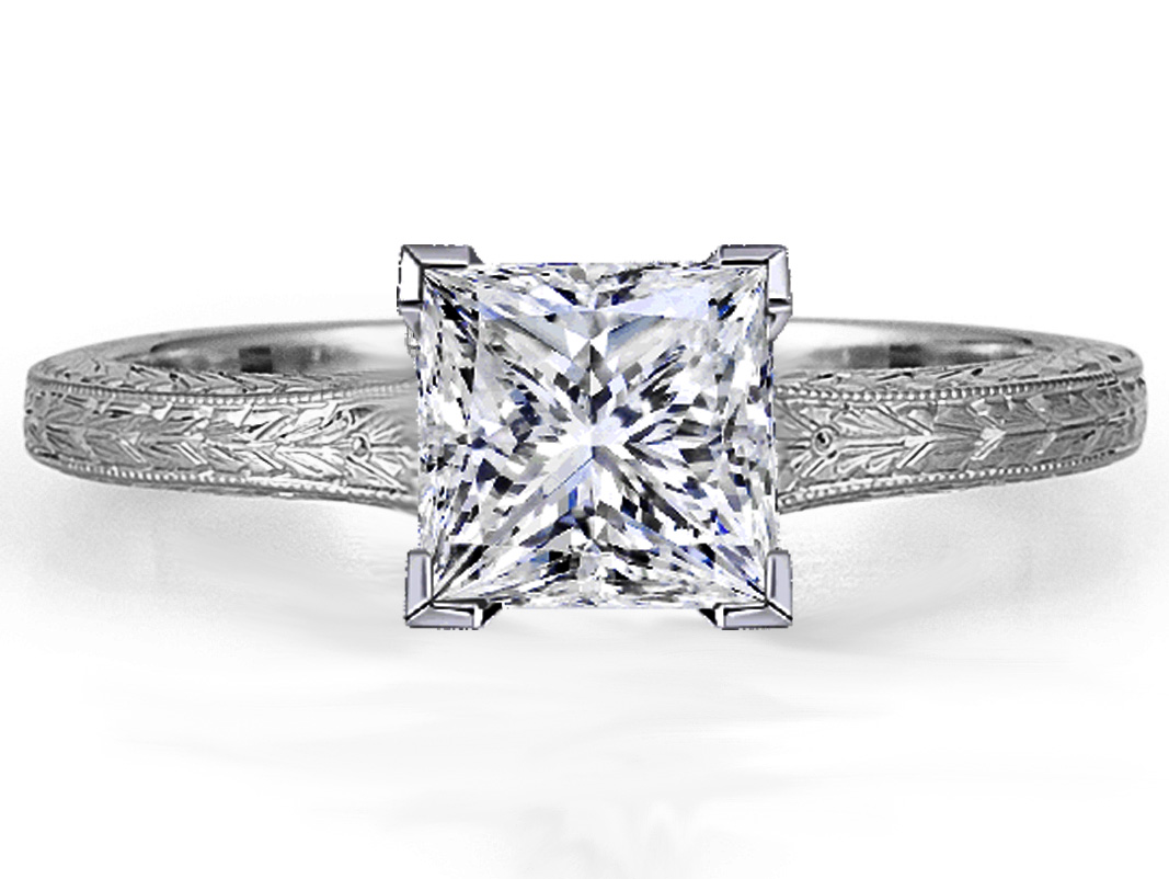 Princess Diamond Solitaire Wheat Engraved  Engagement Ring in 14K White Gold