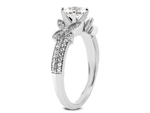 Butterfly Diamond Engagement Ring