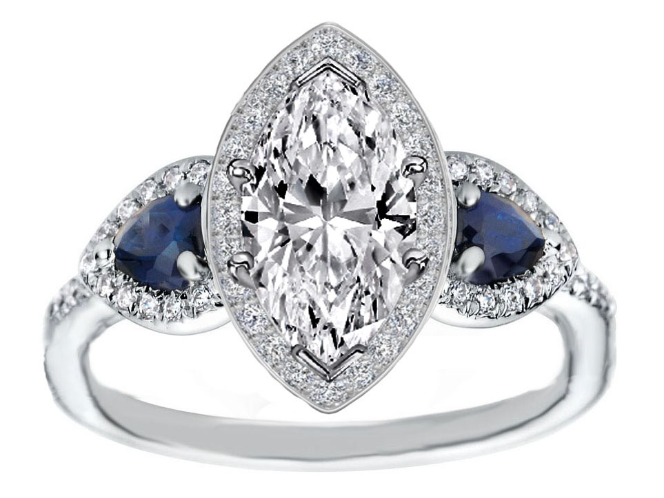 Sapphire Fancy Halo Diamond Ring With Side Stones