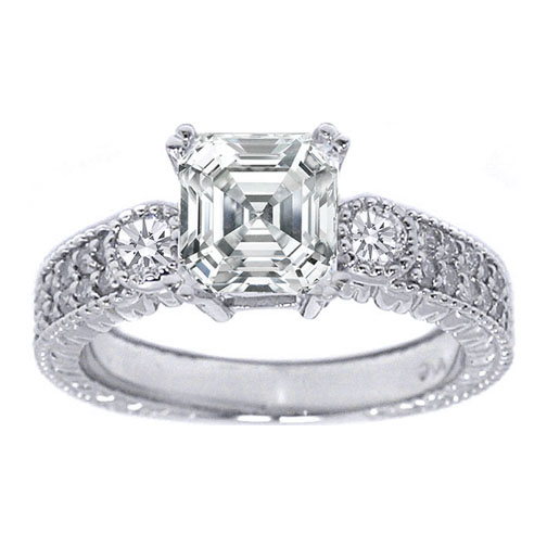 Three Stone Asscher Diamond Vintage Style Engagement Ring with Round Sidestones in 14K White Gold 0.55 tcw.
