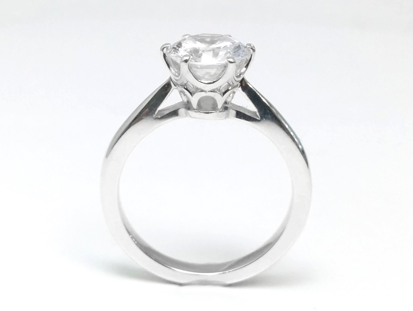Floral Petal Solitaire Crown Engagement Ring In 14k  White Gold