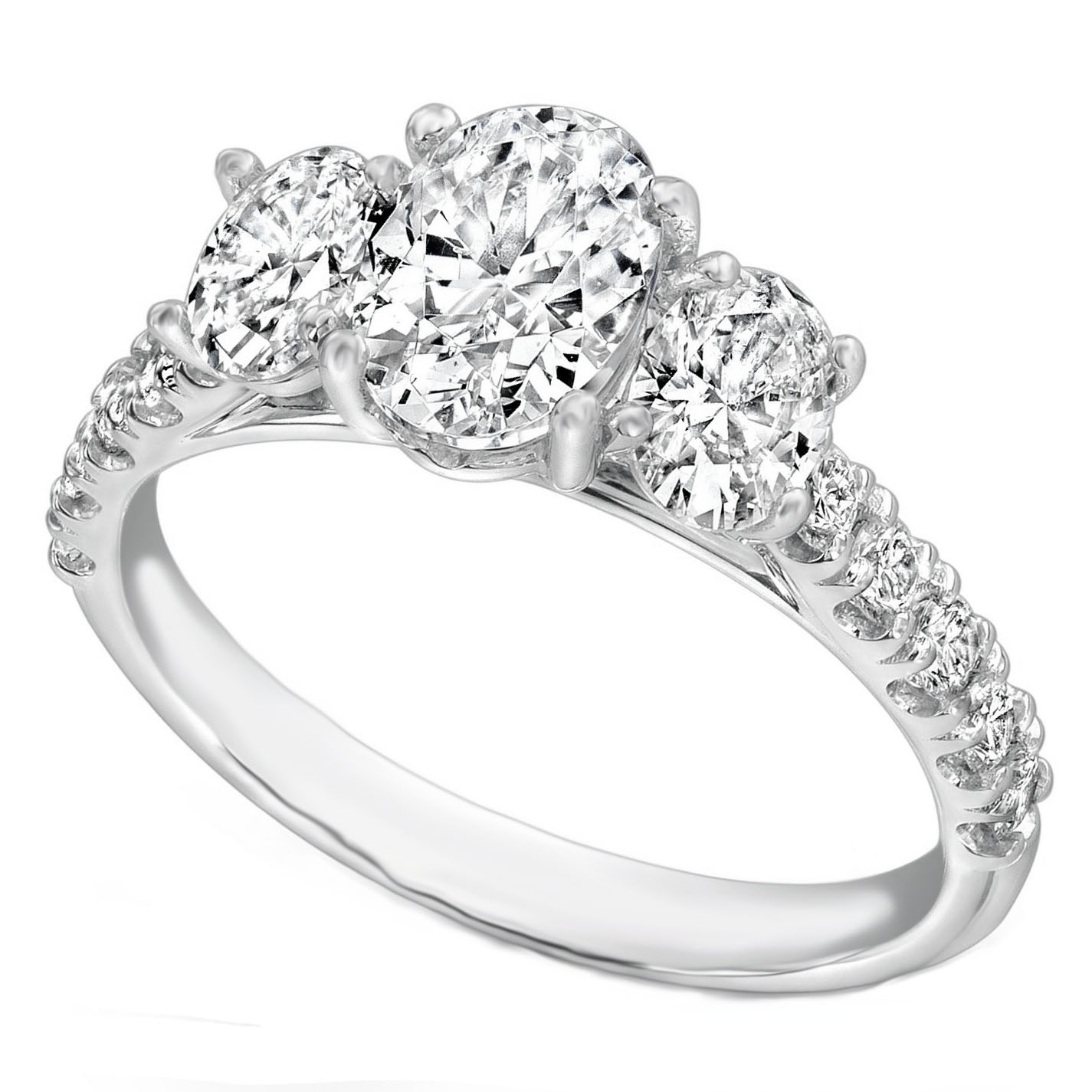 Engagement Ring Three Stone Oval Diamond Cathedral Engagement Ring