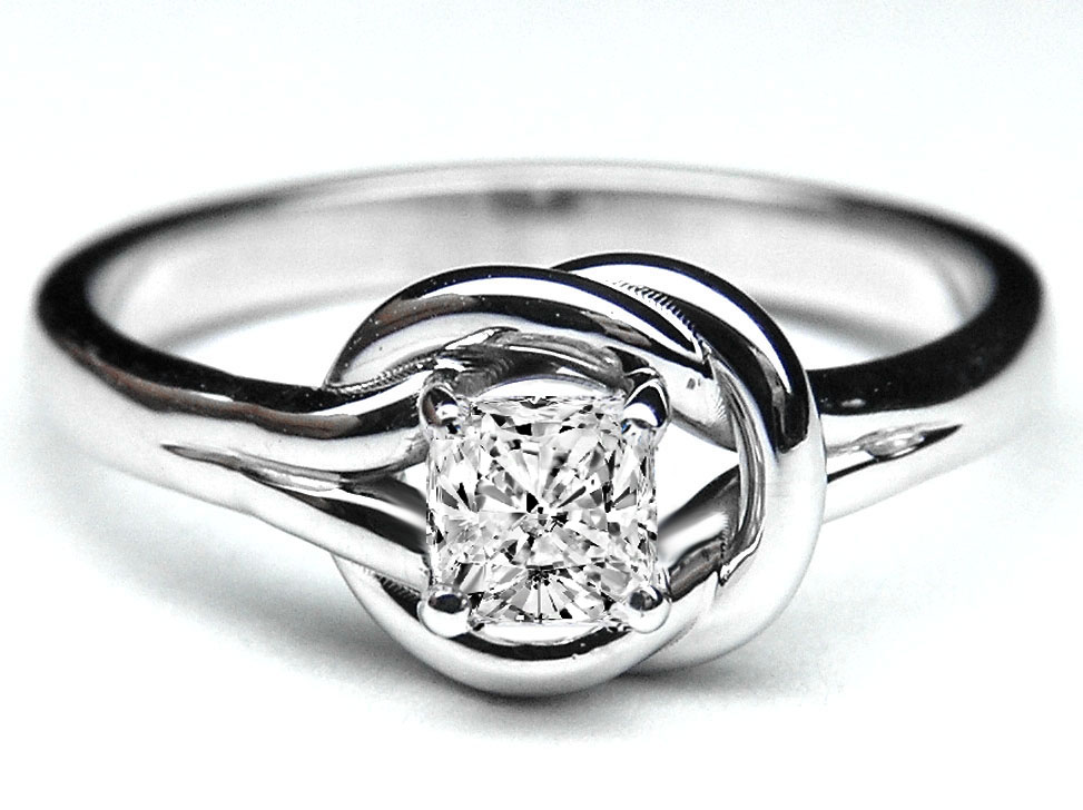 a wedding ring engagement ring cushion knot solitaire 1204