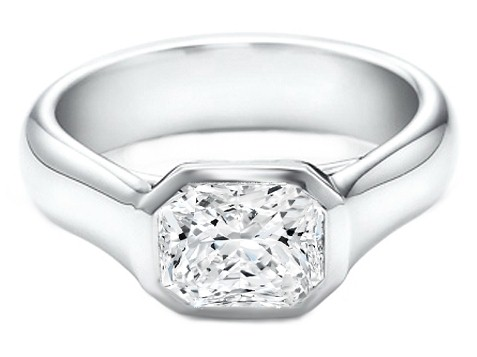 Solitaire Bezel Radiant Diamond Engagement Ring in 14K White Gold