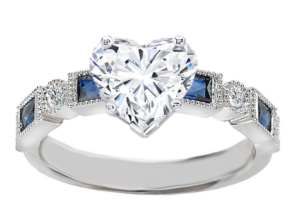 Engagement Ring -Heart Shape Diamond Engagement Ring Blue ...
