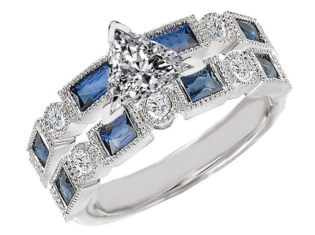 Trillion Cut Diamond Engagement Ring Blue Sapphire Accents & Matching Wedding Ring in 14K White Gold