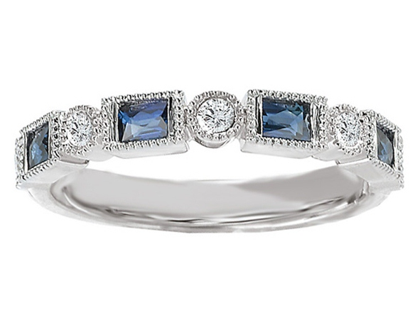Asscher Cut Diamond Engagement Ring Blue Sapphire Accents & Matching Wedding Ring in 14K White Gold