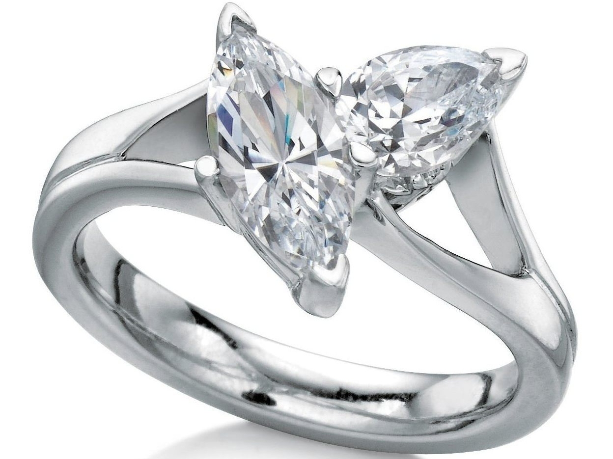Toi et Moi Marquise & Pear Shape Diamond Engagement Ring in 14K White Gold