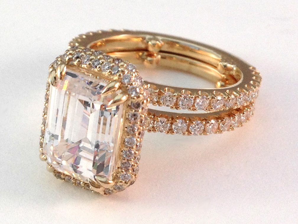Emerald Cut Diamond Halo Bridal Set in 14K Yellow Gold Like Molly Sims