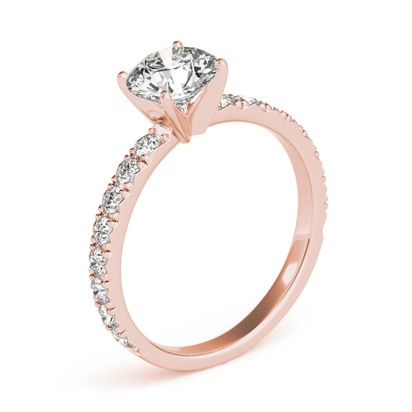 Classic Pave Set Diamond Engagement Ring in Rose Gold