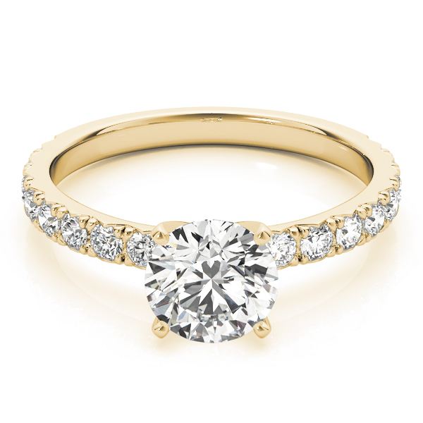 Classic Pave Set Diamond Engagement Ring in Yellow Gold