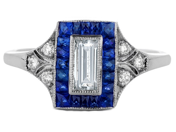 Straight Baguette Art-Deco Engagement Ring
