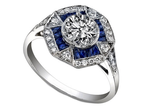 Octagonal Halo Art Deco Diamond Engagement Ring