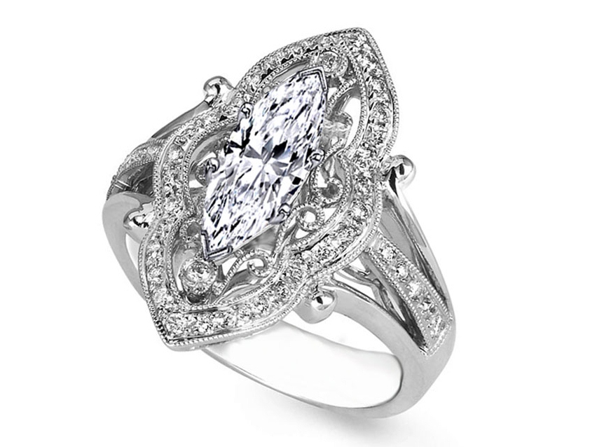Marquise Diamond Art Deco Engagement Ring