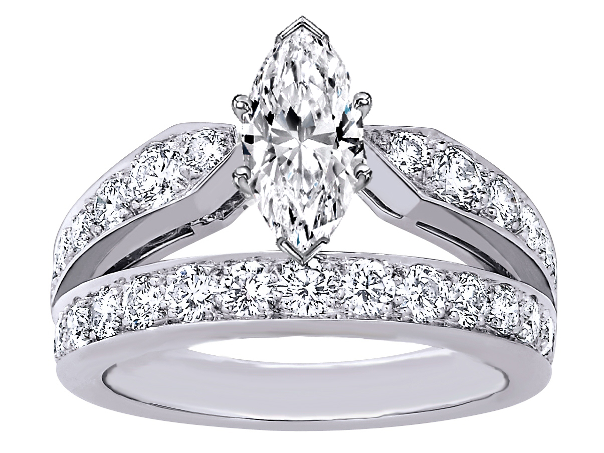 marquise cut diamond double band engagement ring - Marquise Wedding Rings