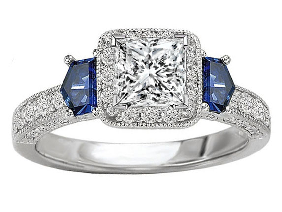 Princess Cut Diamond Halo Engagement Ring Blue Sapphire Shield Accents