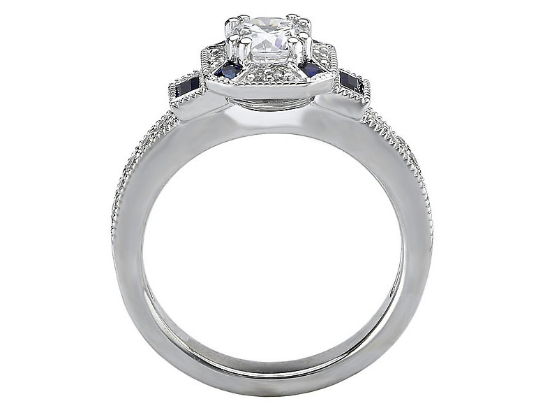Octagon Halo Diamond Engagement Ring Blue Sapphire Baguettes in 14K White Gold