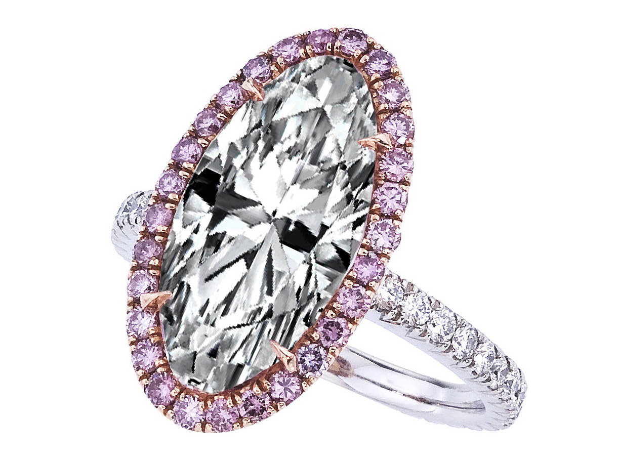 Oval Diamond Pink Diamond Halo Engagement Ring in Platinum
