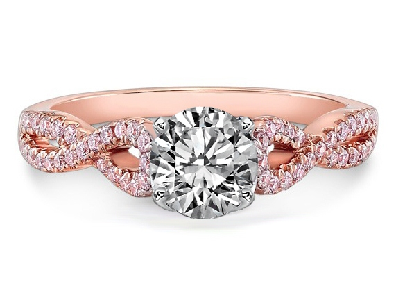 Pink Diamond Rose Gold Enement Rings | Rose Gold Diamond Engagement Rings Perhanda Fasa