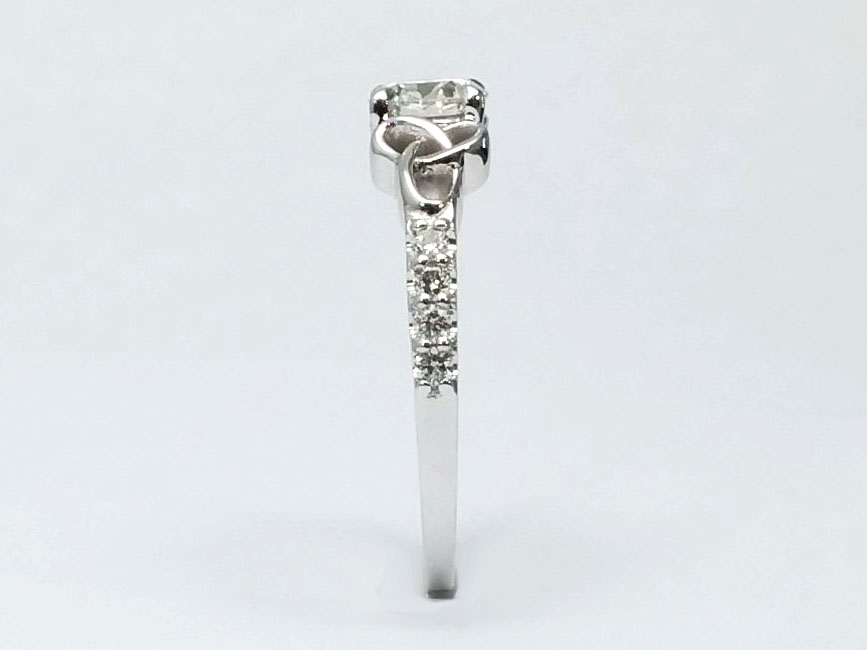 Round Diamond Celtic Knot Engagement Ring in 14K White Gold Band