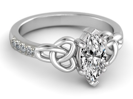 Engagement Ring Marquise Diamond Celtic Knot In 14k White Gold Band Es1246mq