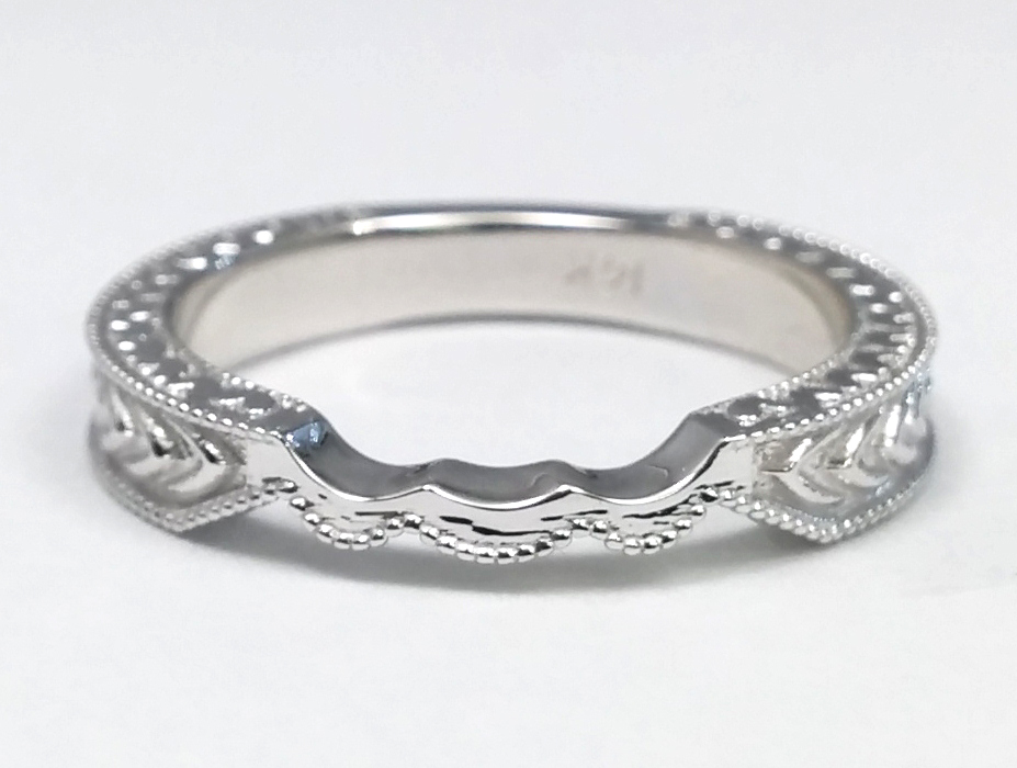 Wheat Engraved Celtic Bridal Set in 14K White Gold