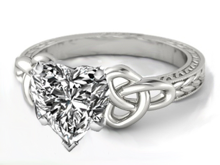 Wheat Engraved Celtic Heart Engagement Ring in 14K White Gold