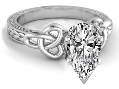 Wheat Engraved Celtic Pear Engagement Ring